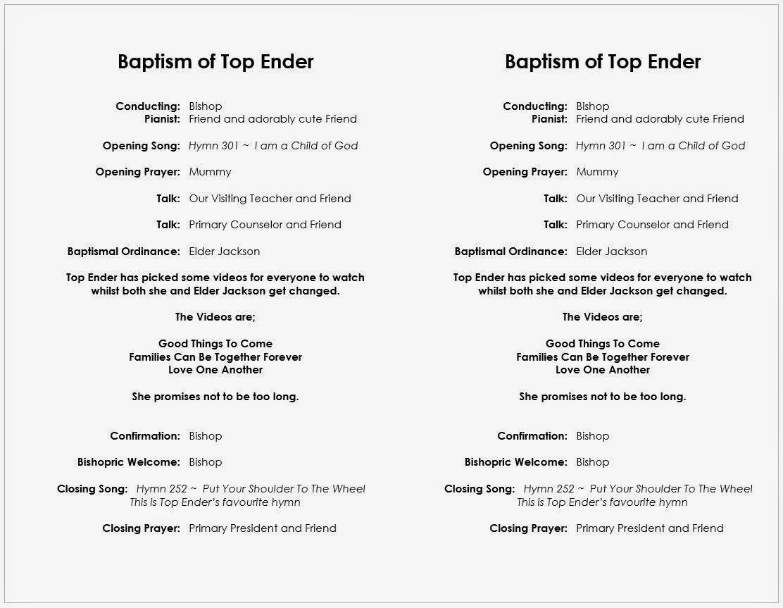 Top Ender's programme for her Baptism