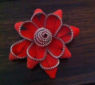 Reciclando cremalleras, cierres o zipper con forma de flor