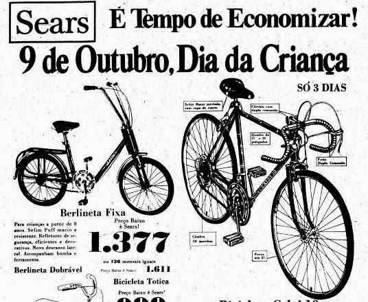 Bicicletas em oferta no dia das Crianças em 1977 na Sears