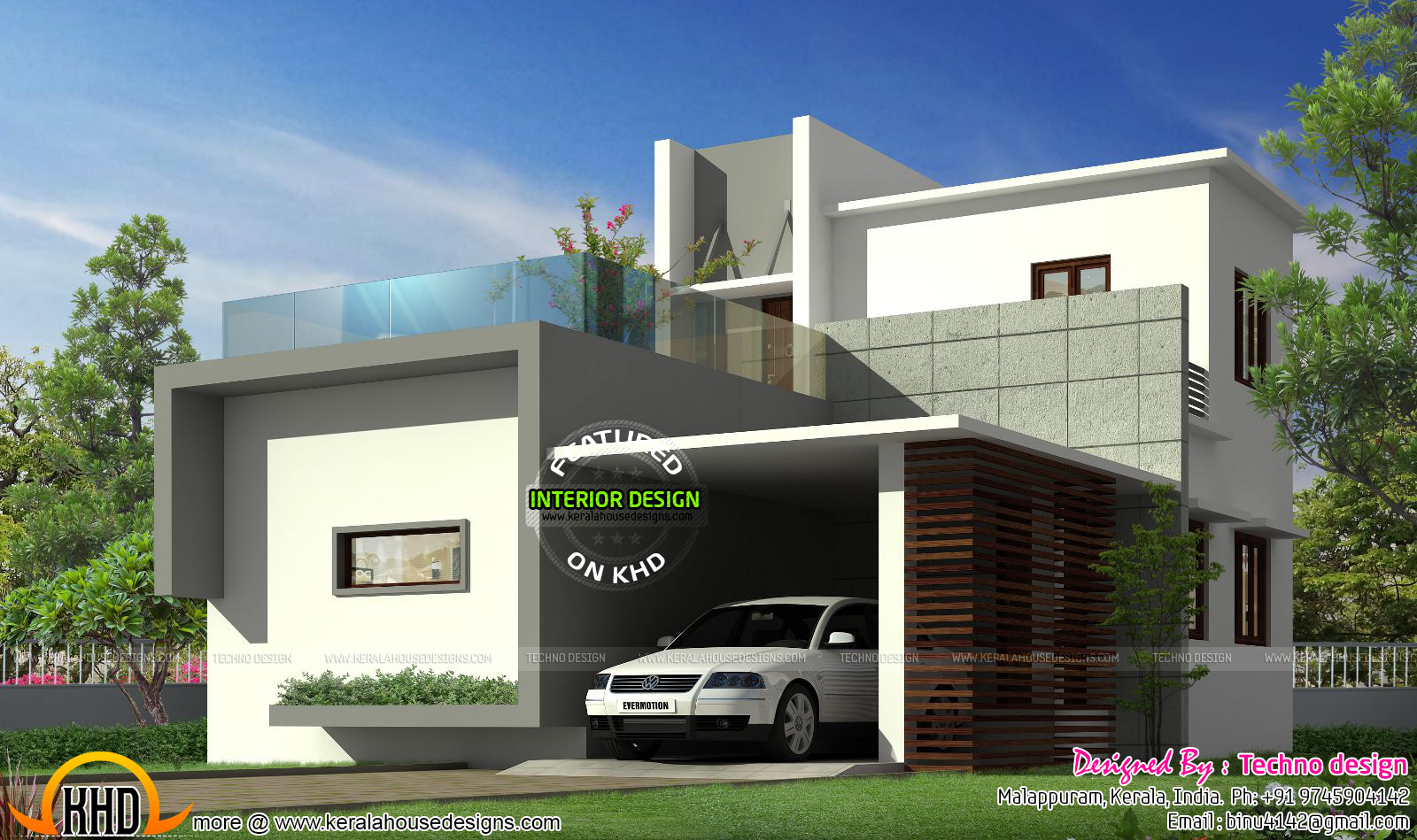 Simple budget contemporary home kerala home design and for Simple contemporary house