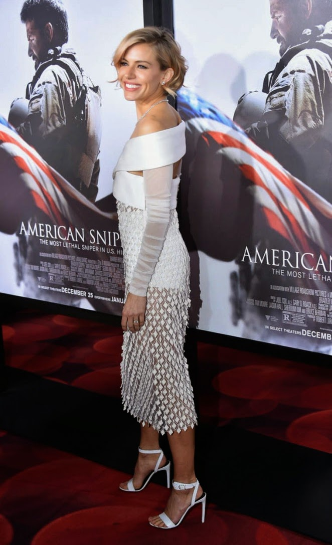Sienna Miller in a Balenciga dress at the 'American Sniper' New York premiere