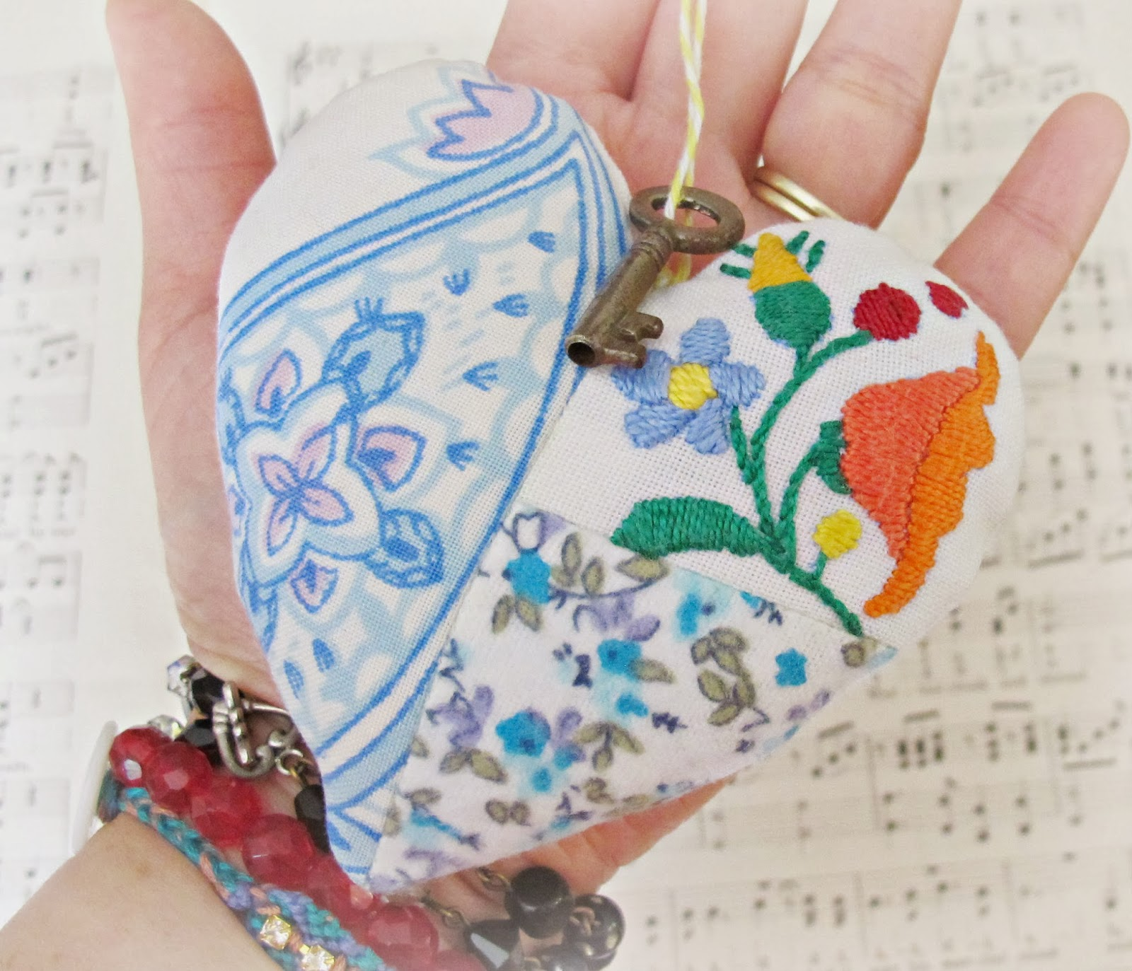 image key to my heart patchwork vintage embroidery blue paisley white skeleton key domum vindemia ornament pin cushion