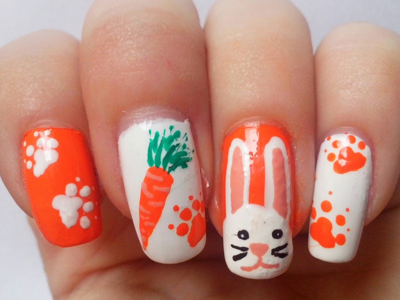 31DC2014 Day 2: ORANGE Nails - Bunny Nails