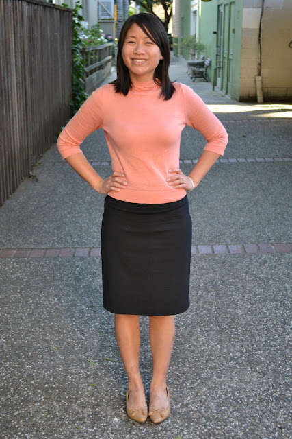 sacramento office fashion blogger angeline evans the new professional blog swapped sweater salmon banana republic suit skirt target flats