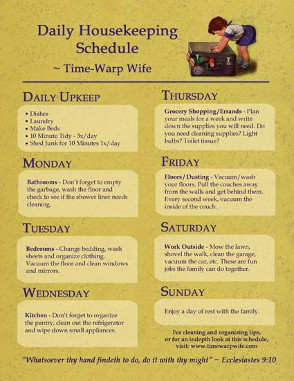 Free Printable - Daily Housekeeping Schedule - Time-Warp Wife
