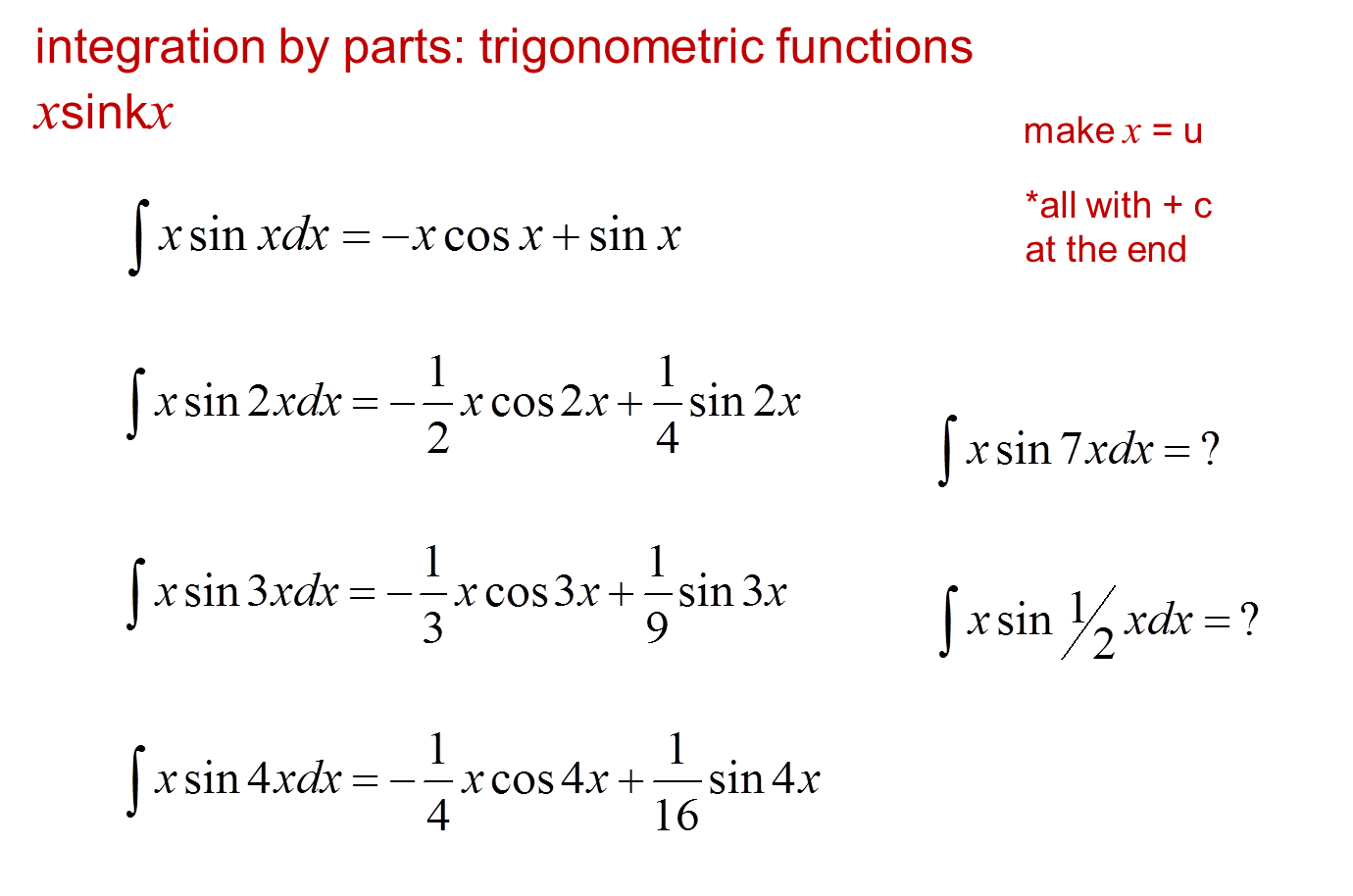 Core Pure 3 Notes Integration By Parts Examples