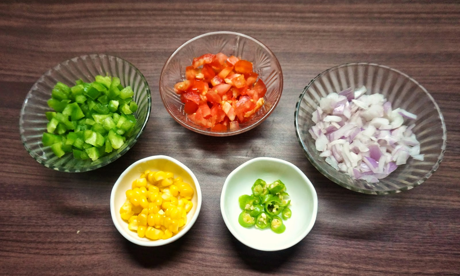 Onion, tomato, bell pepper, green chilly, corn