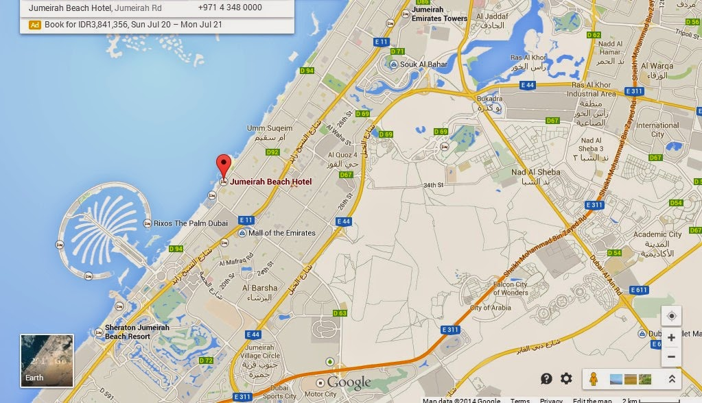 Detail location map of jumeirah beach dubai for Site location hotel