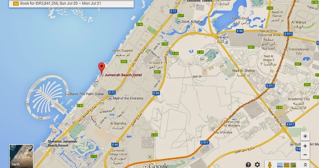 Detail location map of jumeirah beach dubai uae dubai for Map of dubai hotels