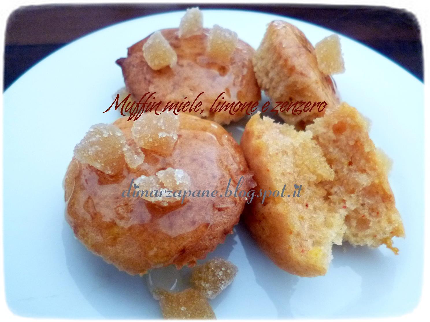 muffins d'albumi al miele, limone e zenzero