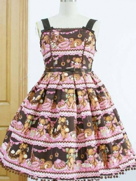 Sweet Bear Cafe Printed Rococo Lolita Dress