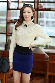 Foto Tren Baju Korea 2014 Rok Mini Lace Shirt