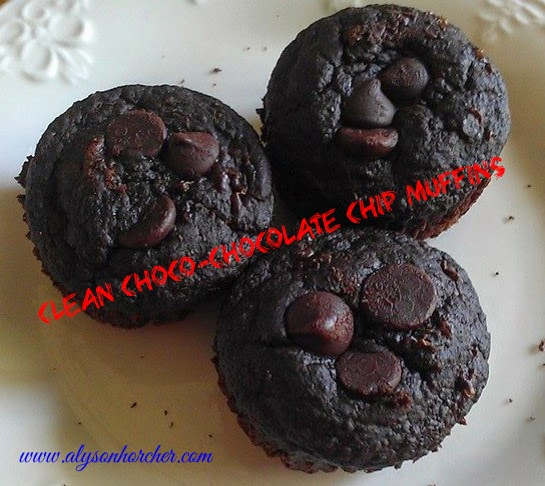 www.alysonhorcher.com, Clean choc-chocolate chip muffins, tasty tuesday, clean eating recipes, healthy eating recipes, healthy eating, clean eating, chocolate, chocolate makes everything better, healthy chocolate recipes, clean eating chocolate recipes, healthy chocolate chip muffins, clean eating chocolate chip muffins