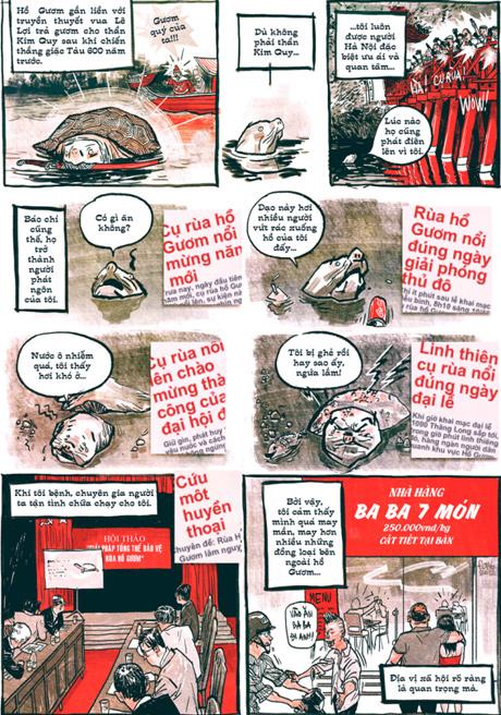 Tranh vui cụ Rùa ở Hồ Gươm