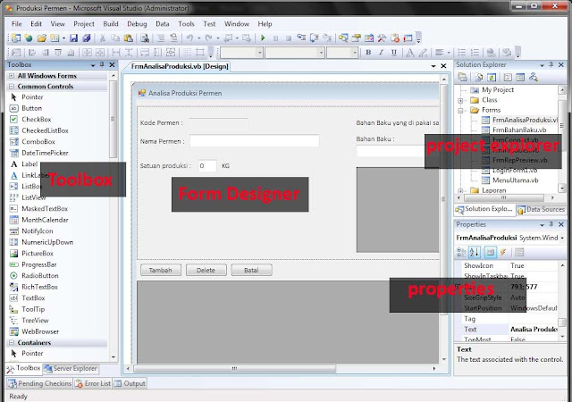 Toolbox adalah kumpunan komponen yang digunakan untukmendesain form