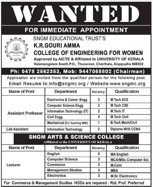 kr gowri amma college of engineering for women