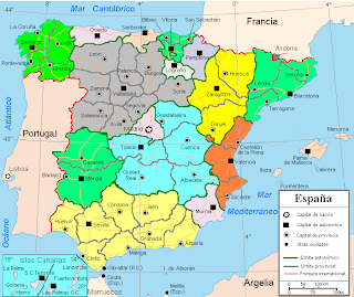 Map of Spain Region Political