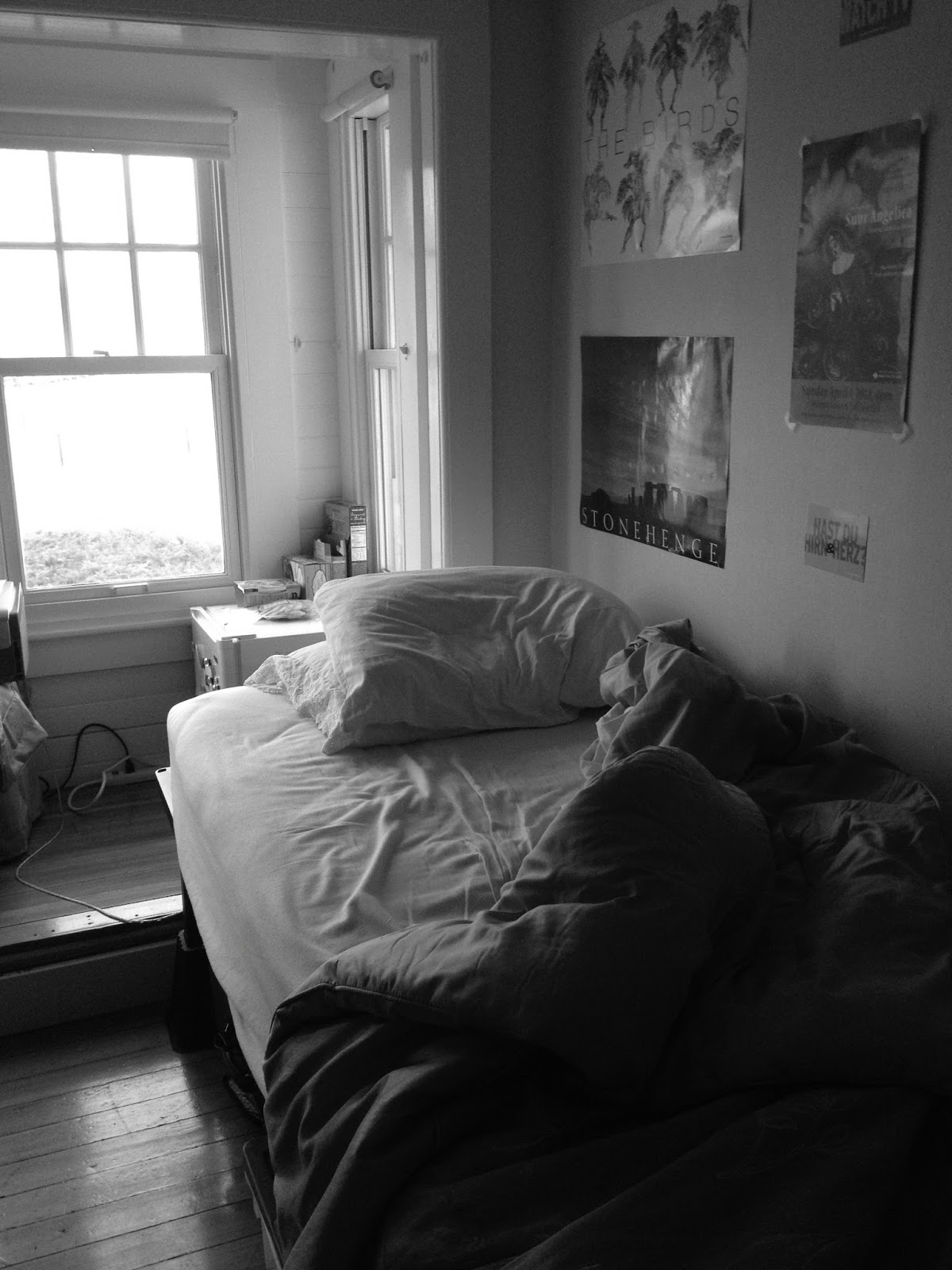 My unmade bed in black and white