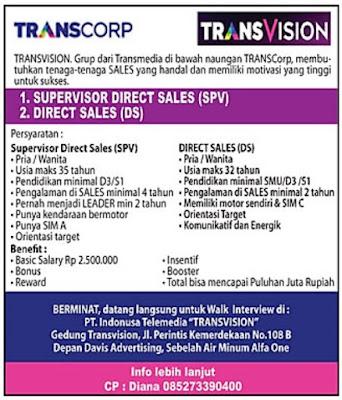 "Loker TRANSCORP PT. Indonusa Telemedia ""TRANSVISION"" Palembang"