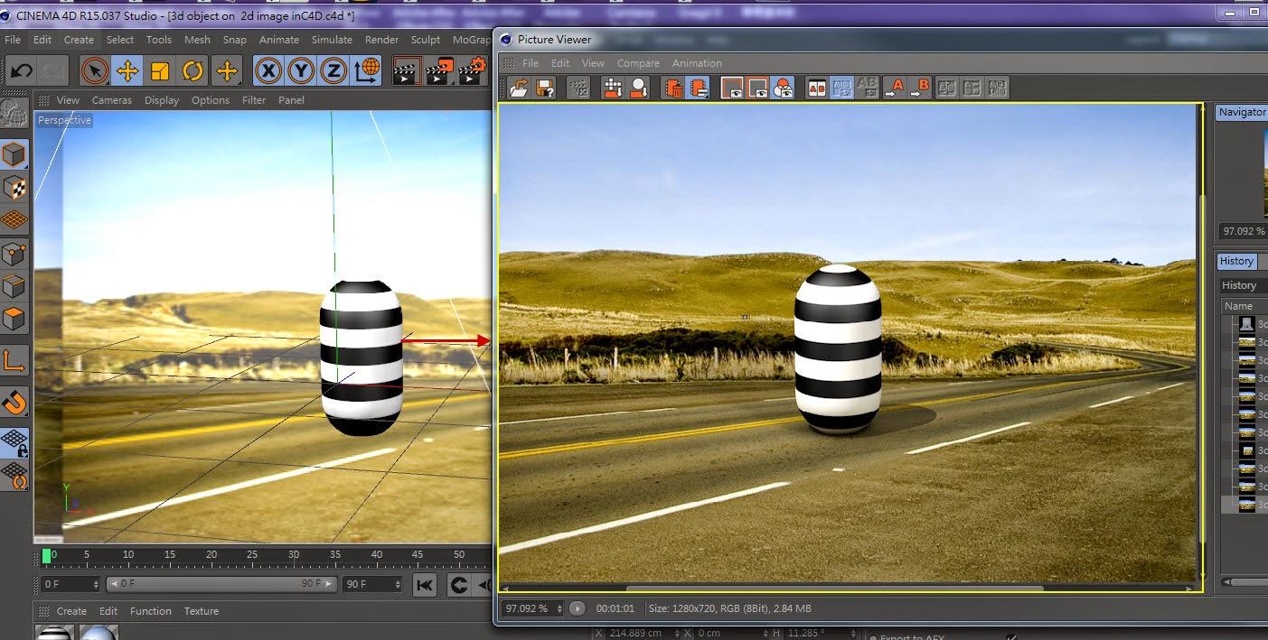 3d object on  2d image inC4D 22