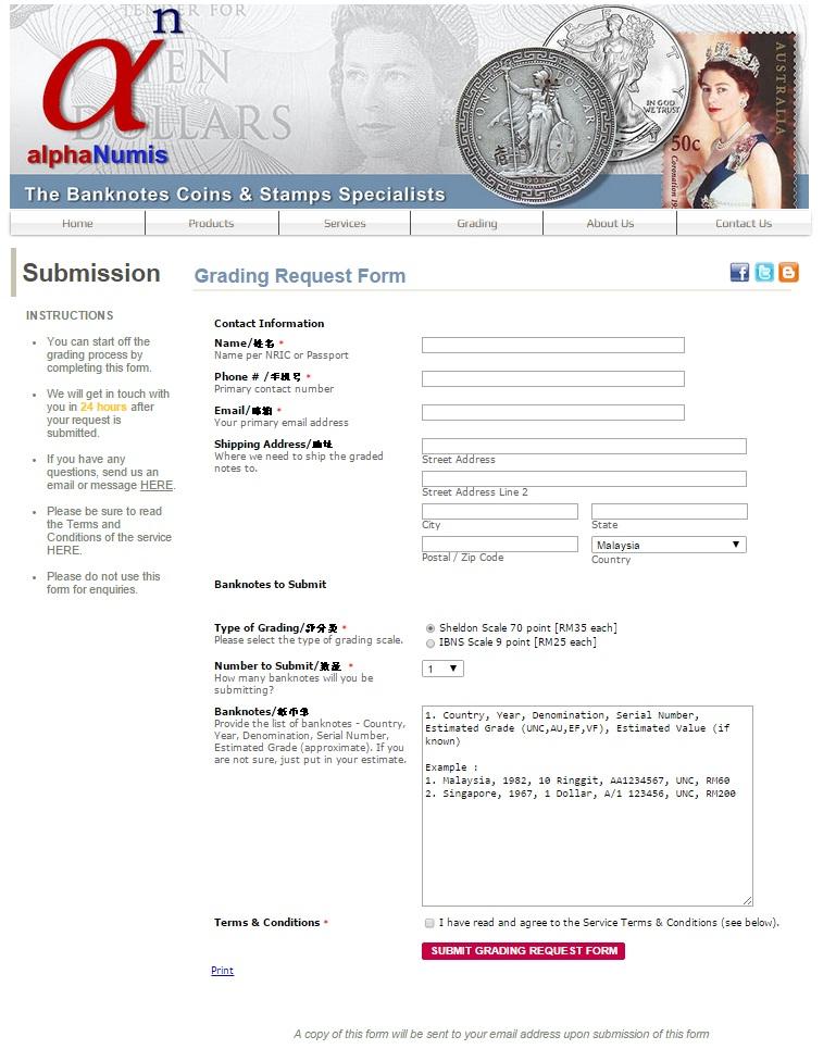 alphaNumis Grading Submission Form
