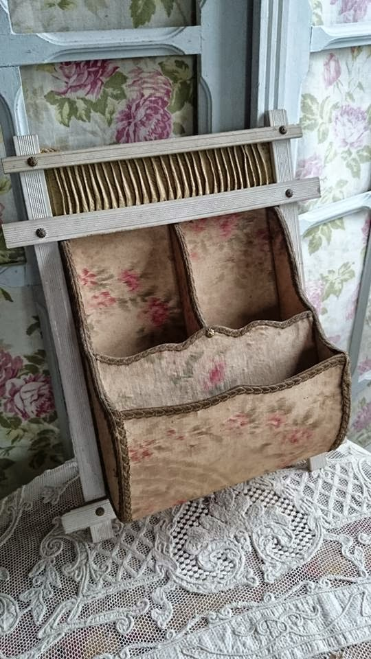 GORGEOUS ANTIQUE FRENCH TEXTILE BOUDOIR WALL POCKET late 1800s SOFT FADED ROSES