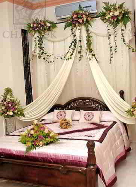 Outdoor kitchen furniture wedding bedroom decorating with for Bedroom bed decoration