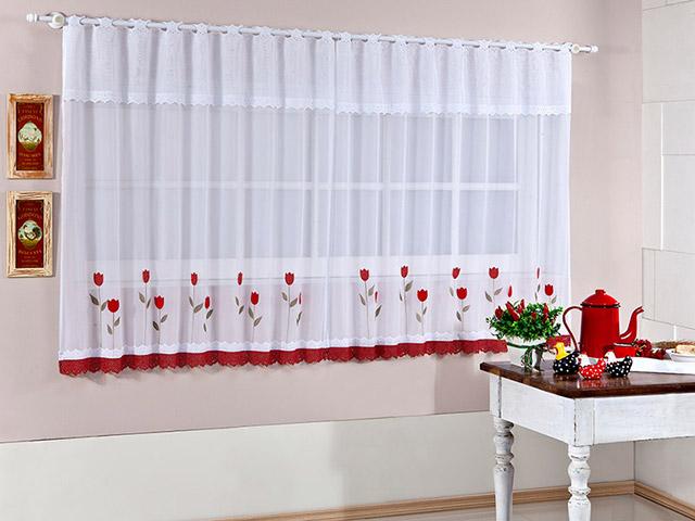 cortina para cozinha flores