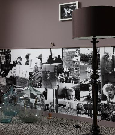recolecte sus fotografas favoritas cpielas a tamao a y haga un collage en un marco de aluminio sujeto a la pared en lugar de cristal