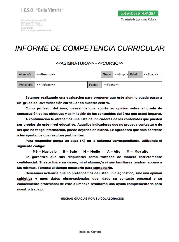 Un Informe de Competencia Curricular | TicIESO