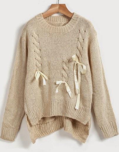 http://fr.sheinside.com/Apricot-Long-Sleeve-Bow-Asymmetrical-Knit-Sweater-p-182195-cat-1734.html