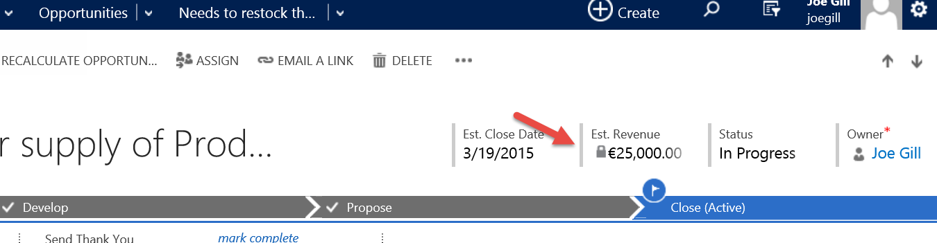 Dynamics CRM Opportunity