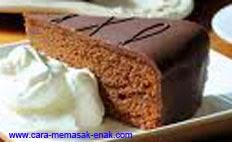 resep praktis dan mudah membuat (memasak) makanan khas eropa kue sacher torte spesial enak, legit, lezat