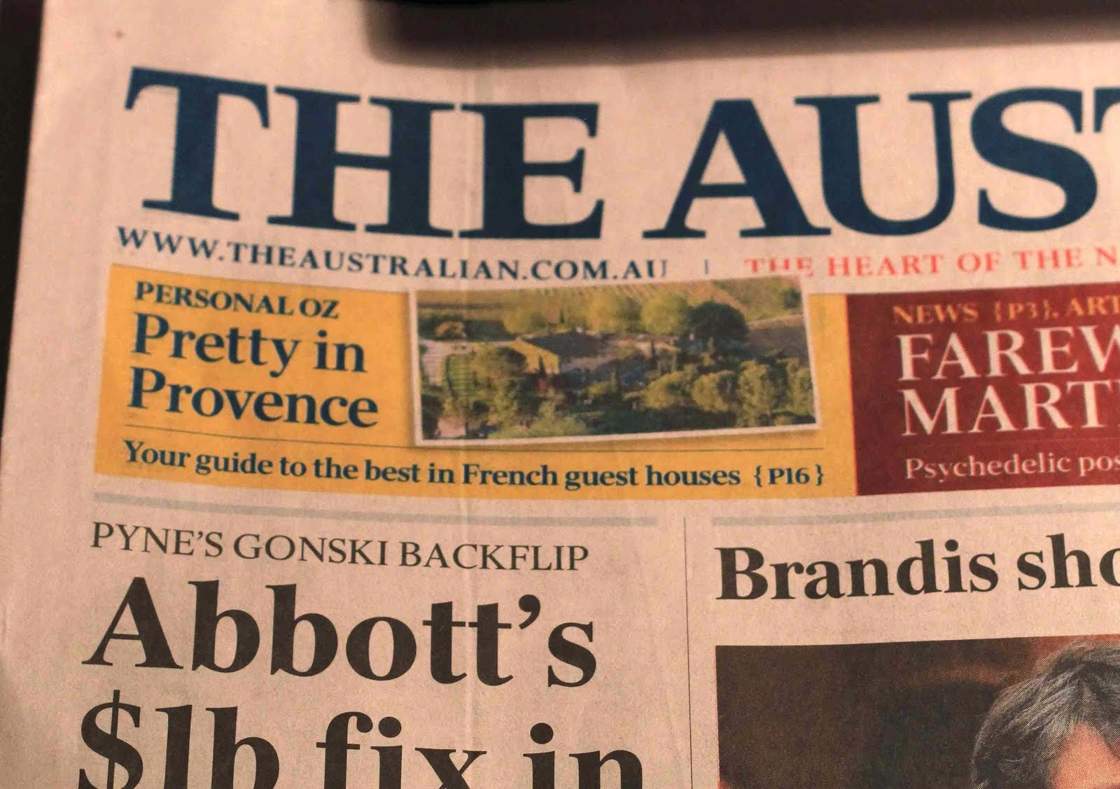 PROVENCE IN THE AUSTRALIAN NEWSPAPER