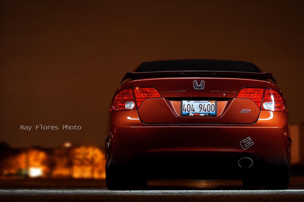Honda Civic VIII Si, VTEC is kicking in, sportowe auto, nocna fotografia, JDM, zdjęcia, fotki, popularny samochód