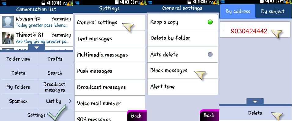 how to delete blocked numbers in whatsapp