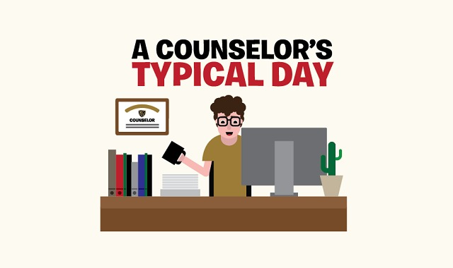 Counselor's Typical Day #infographic ~ Visualistan
