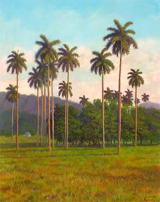 Cuadro de paisaje cubano con palmas