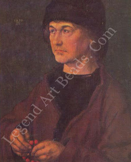 Albrecht the elder this portrait of Diirer's father shows him saying the rosary. Darer wrote: 'my father was a man of very few words and deeply pious.'
