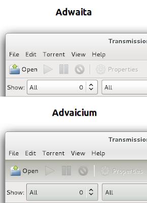 Temas Adwaita e Advaicium em uma aplicação GTK2 - Comparação