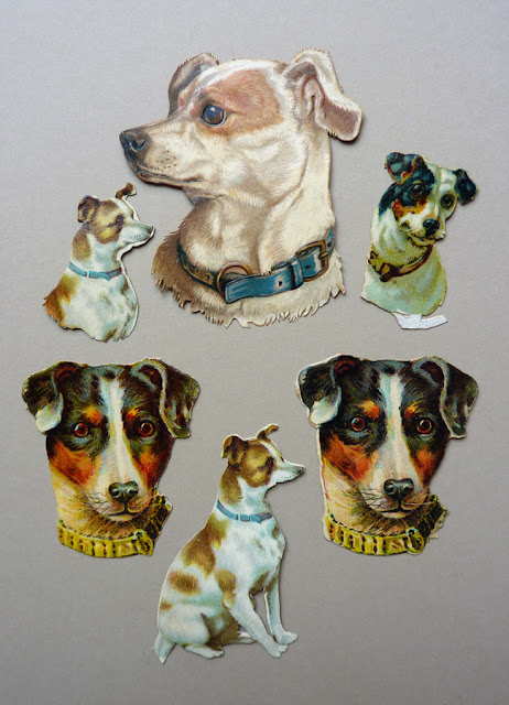 die cut scraps, scrapbooking, victorian collage, die cut dogs