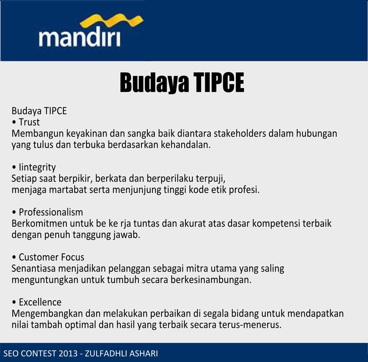 Tipce Bank Mandiri