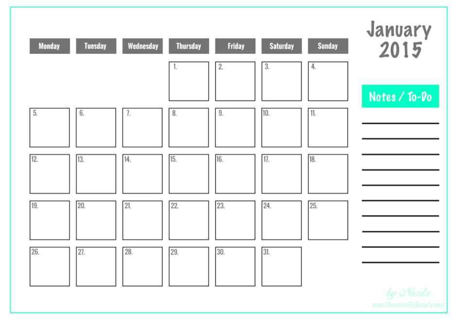 2015 Blogging Calendar