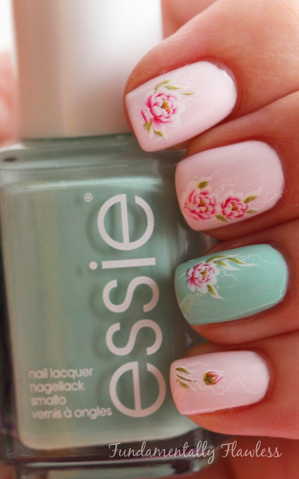 Born Pretty Store rose water decals with Essie Mint Candy Apple