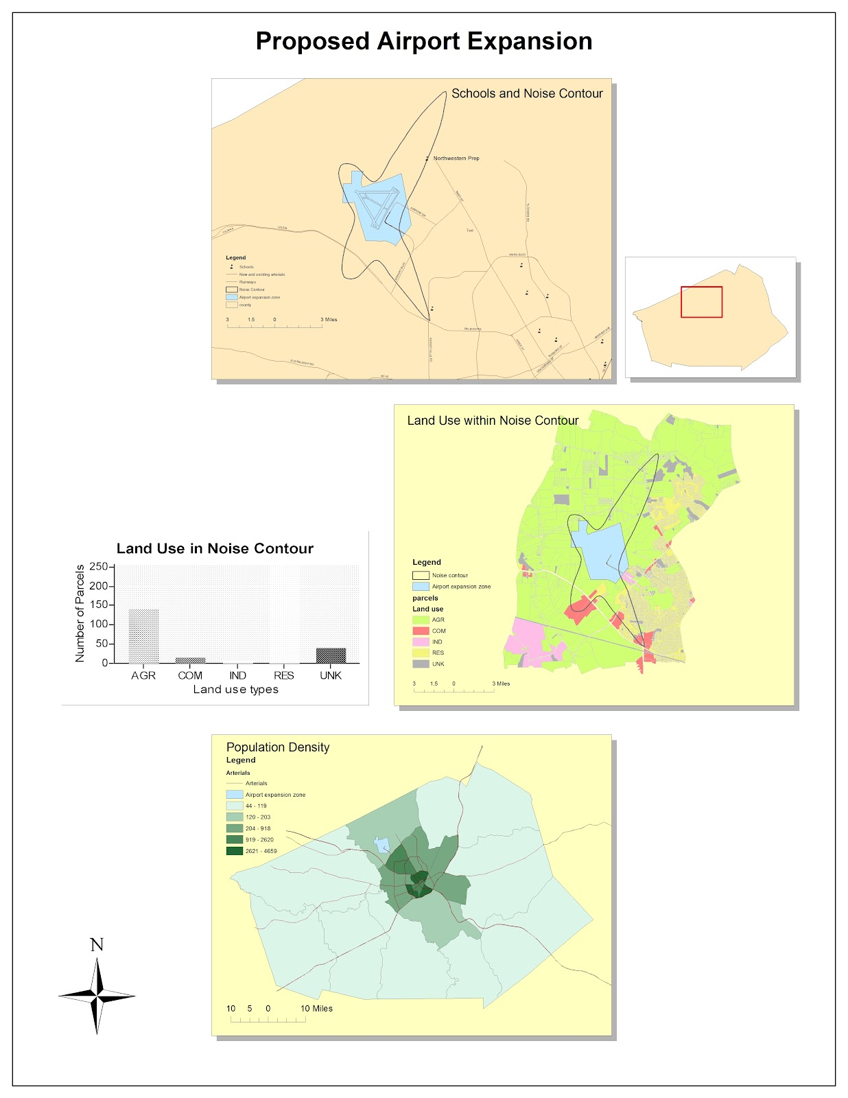 the above document lays out 3 different maps for a proposed airport expansion plan each map focuses on a different aspect of the area mapped to illustrate