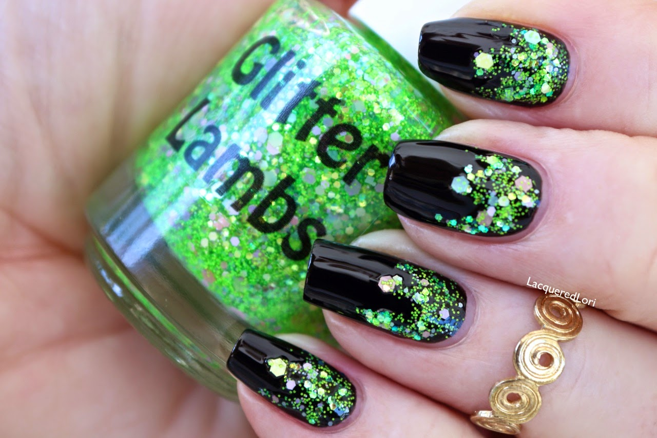 "Glitter Lambs ""Lime Green Eyeshadow""  Glitter Topper Nail Polish ""Fashion Makeover Collection"" Swatched by @LacqueredLori"
