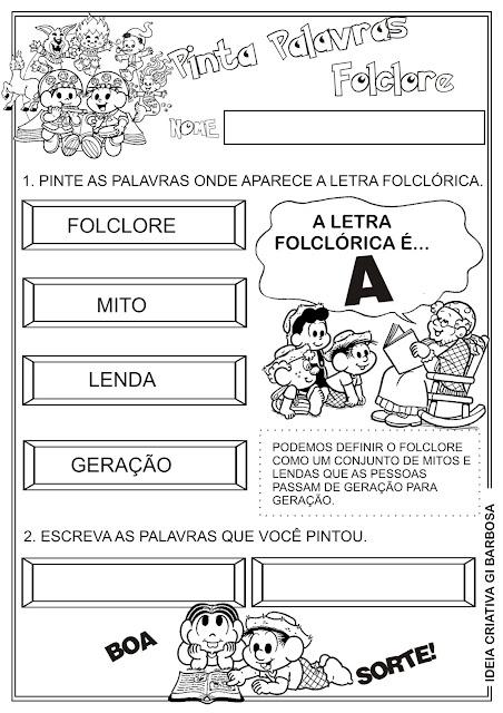 Atividade Pinta Palavras Letra A Folclore