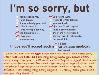 The Life of an Annoying Girl D I am very sorry – Apology Love Letter