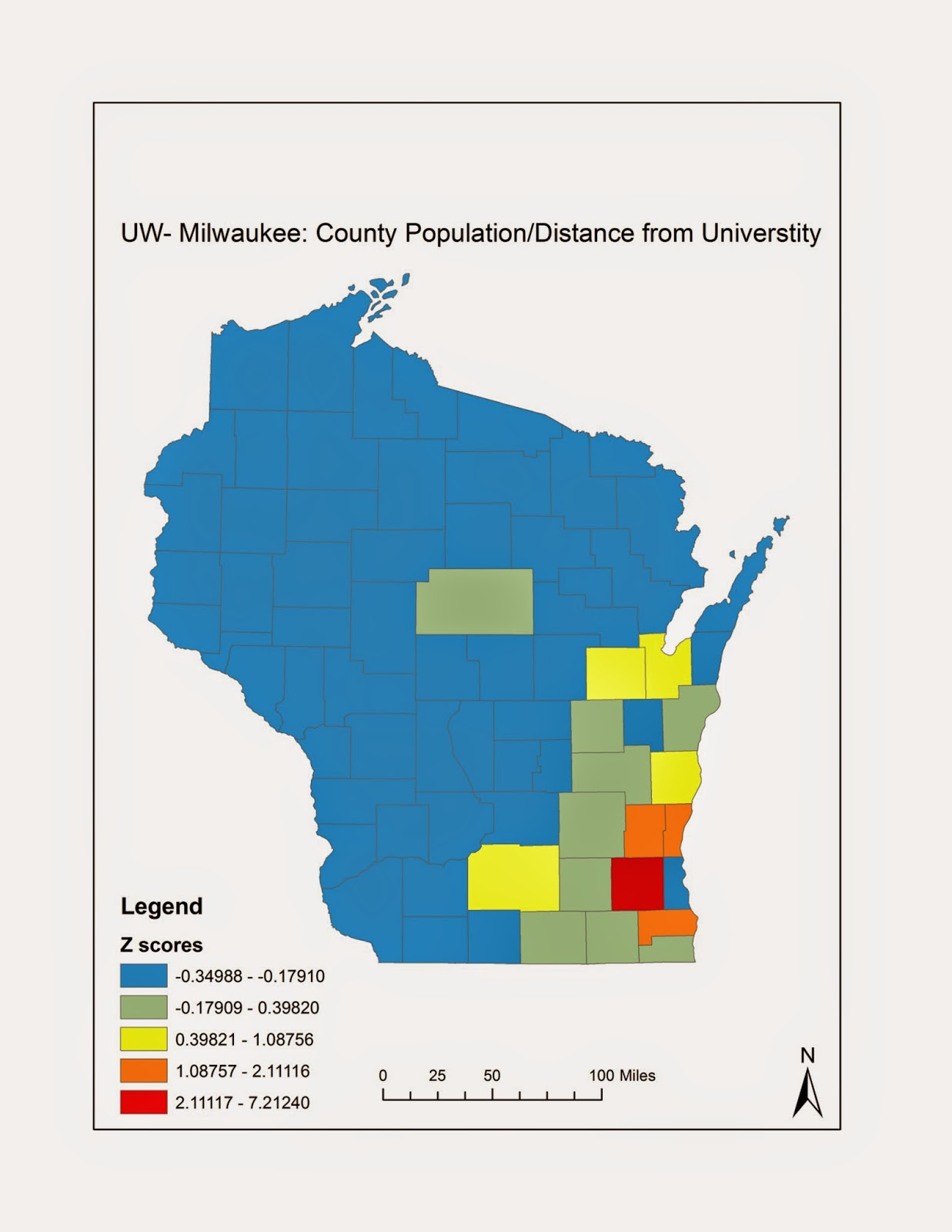 a bimodal map showing the z scores of distance a county is from uw milwaukee normalized by population the counties are compared to the number of students
