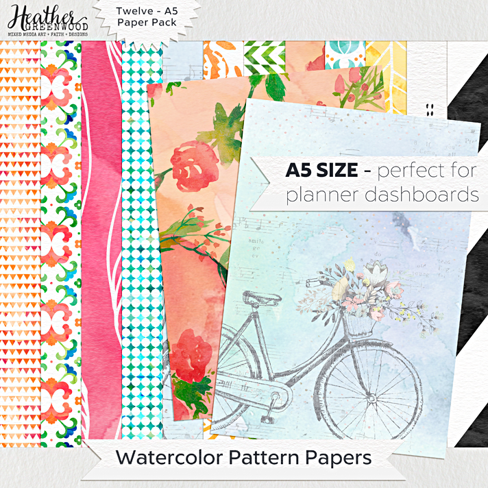Watercolor Pattern Digital Papers | A5 digital papers by Heather Greenwood Designs